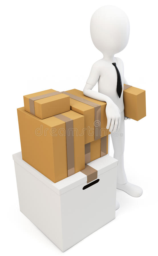 3d man businessman with moving boxes royalty free stock photos image 25753978. Black Bedroom Furniture Sets. Home Design Ideas