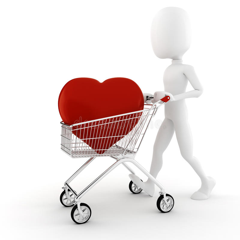 3d man buying a big red heart