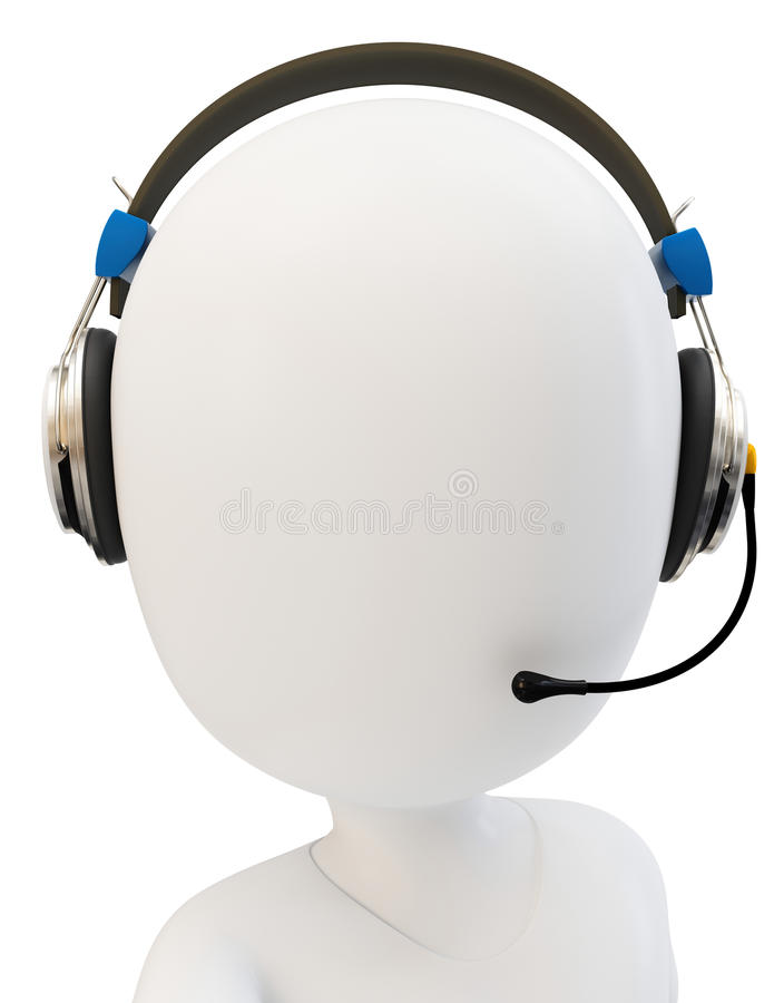 Download 3d Man Call Center Support With Headphones Stock Illustration - Image: 28806459