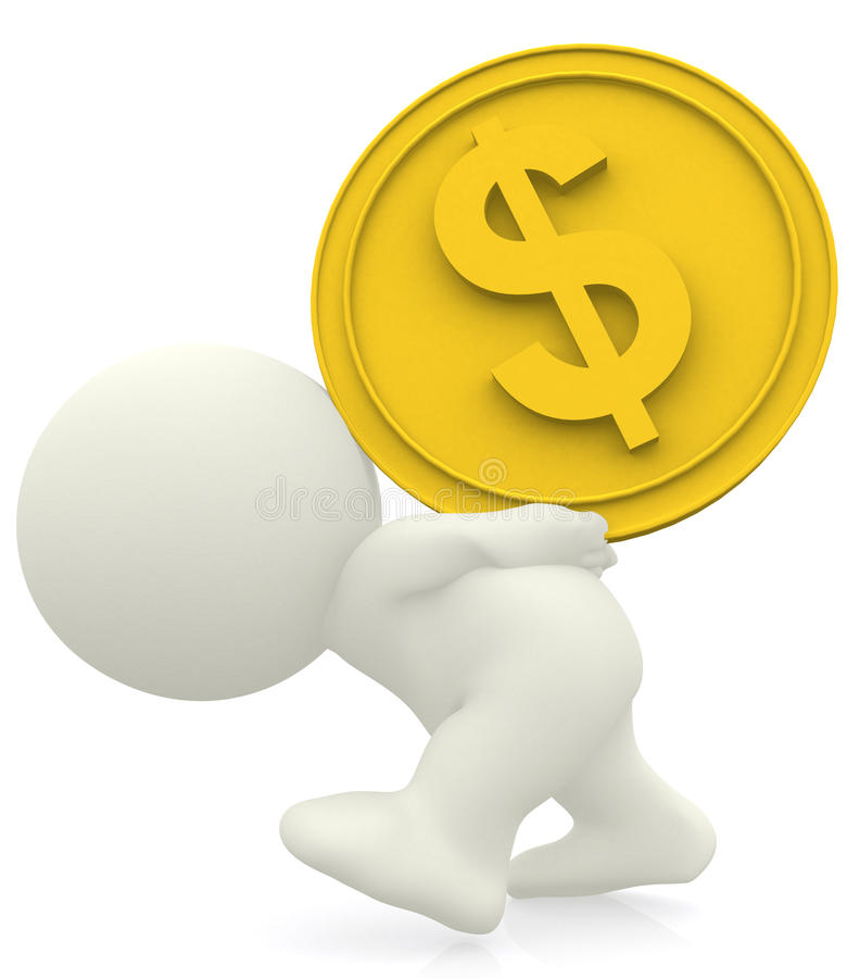Download 3D man carrying heavy coin stock illustration. Image of currency - 13299774