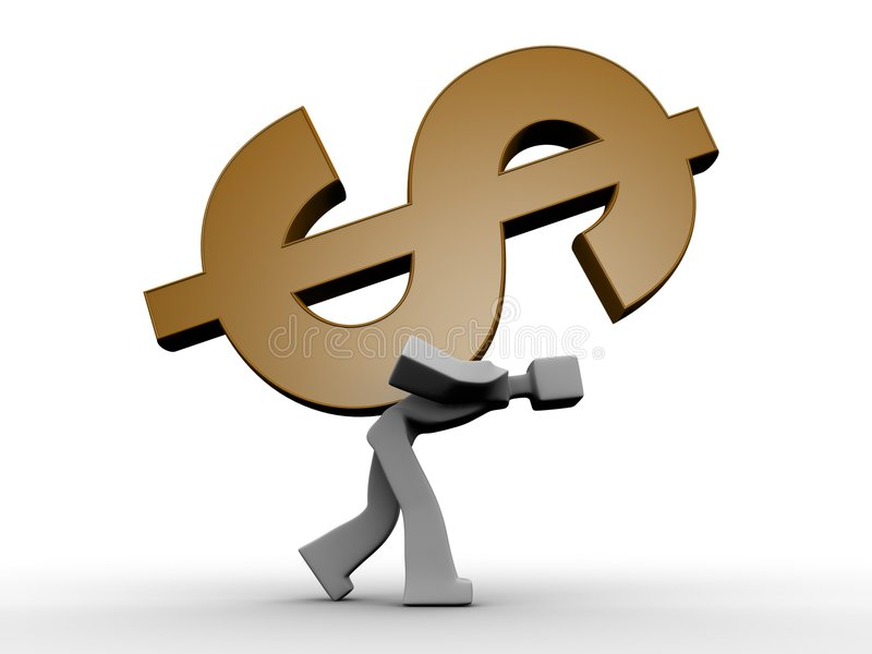 Download 3d Man Carrying A Heavy Dollar Symbol Stock Illustration - Image: 8428053