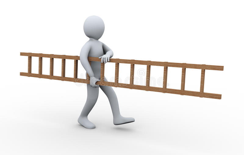Download 3d man carrying ladder stock illustration. Illustration of carrying - 27335482