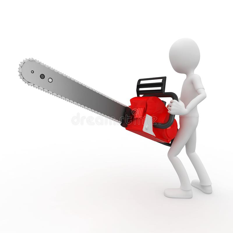 3d man with chainsaw. Isolated on white stock illustration