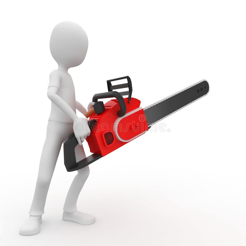3d man with chainsaw royalty free illustration