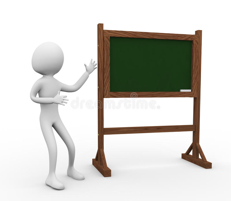 3d Man With Chalkboard Stock Photography