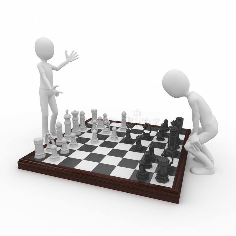3d man with chess game stock illustration