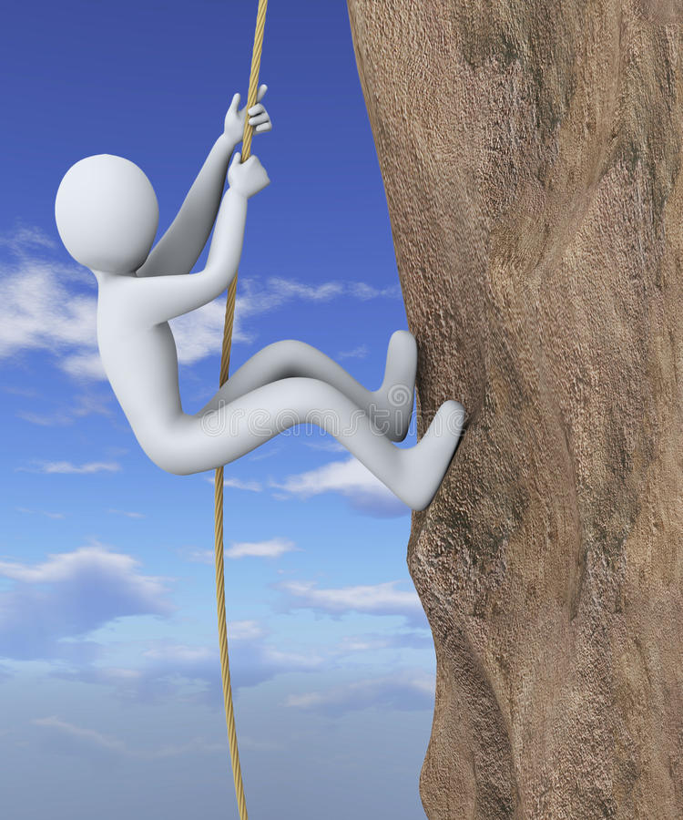 3d man climbing mountain. 3d illustration of person climbing vertical wall with the help of rope. 3d rendering of people - human character stock illustration