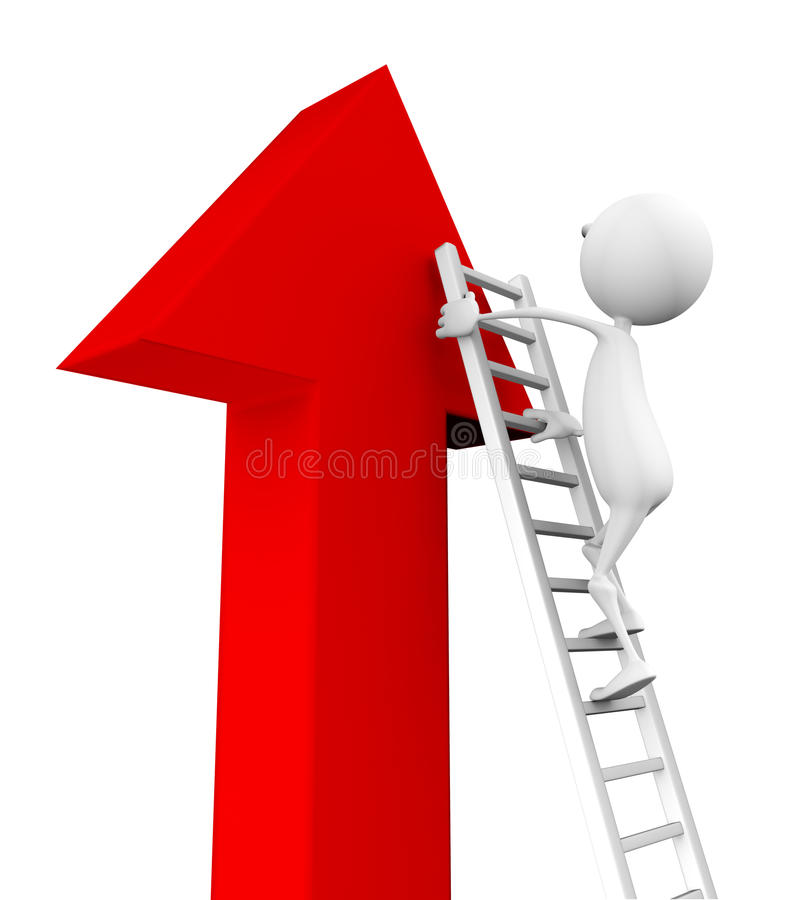 Download 3d Man Climbs Up The Stairs On The Arrow Stock Illustration - Image: 18848170