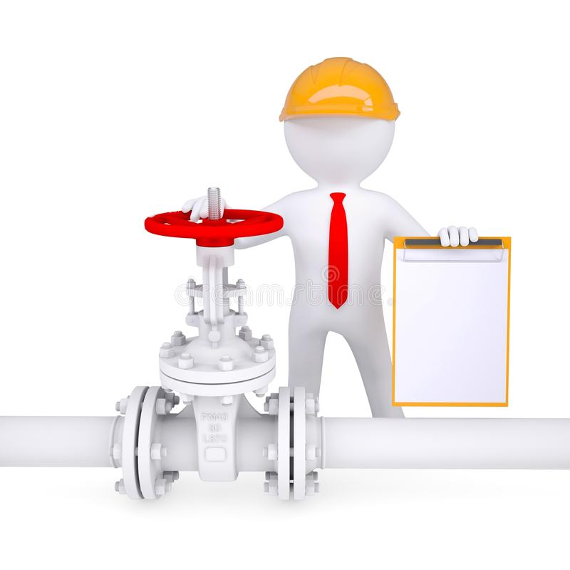 3d man with a clipboard next to the valve on the pipeline. Render on a white background vector illustration