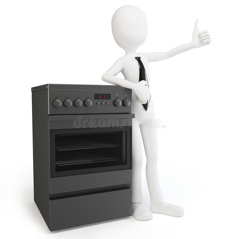 3d man with cooker stove