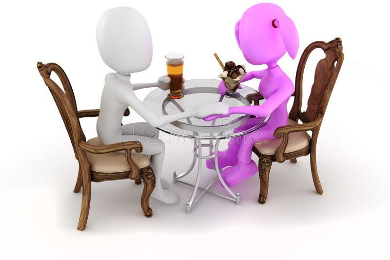 3d man couple restaurant dinner. On white royalty free illustration