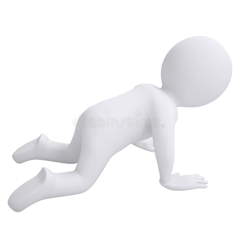 3d Man Crawling On His Knees Royalty Free Stock Photos