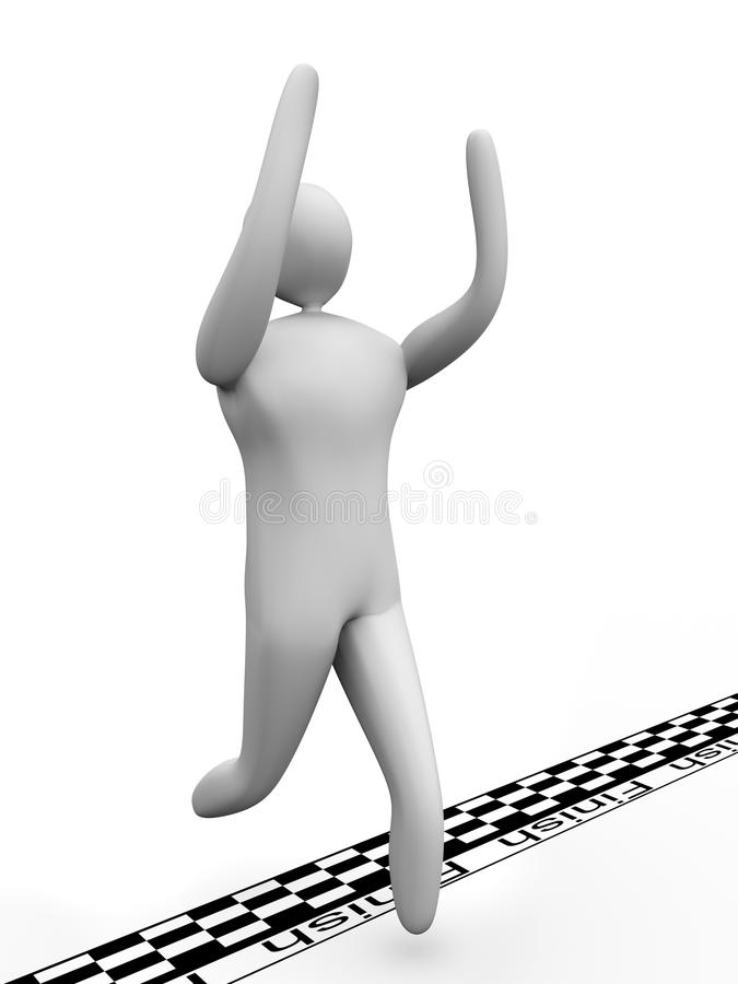 3D man crosses the finish line and cheers