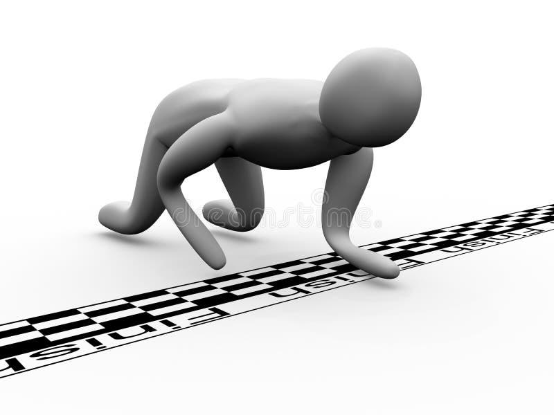 Download 3D Man Crosses The Finish Line Crawling Stock Illustration - Illustration: 10067558