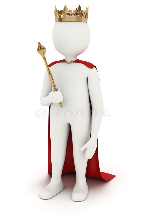 3d man with crown and mace. 3d man as king with crown mace and red cloak stock illustration