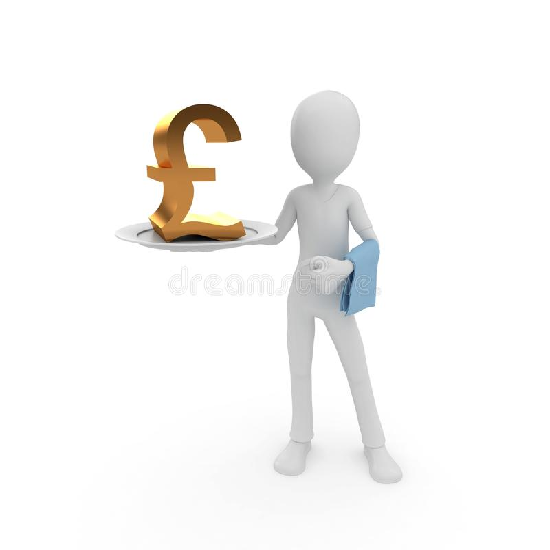 Download 3d Man With Currency On The Plate Stock Photography - Image: 17021742