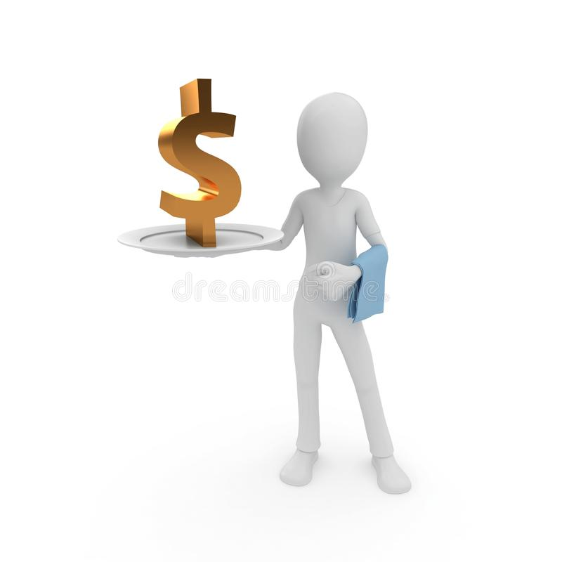 3d man with currency on the plate