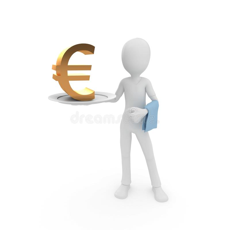 Download 3d Man With Currency On The Plate Stock Illustration - Image: 17037594