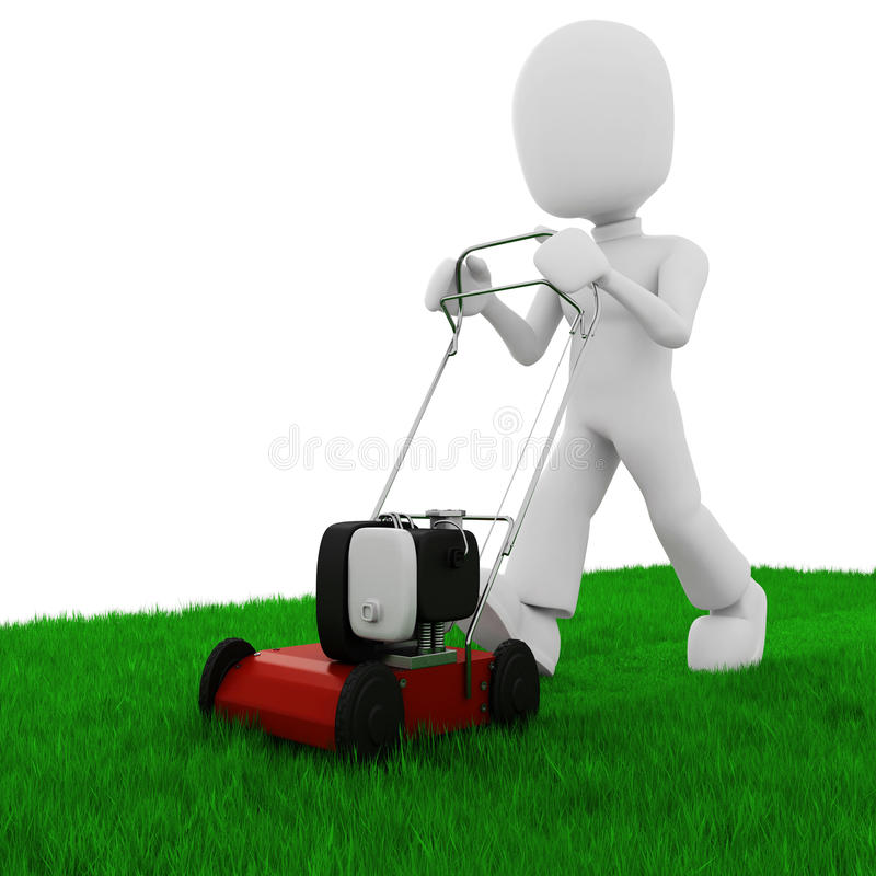 3d man cutting the grass with a lawn mowe vector illustration