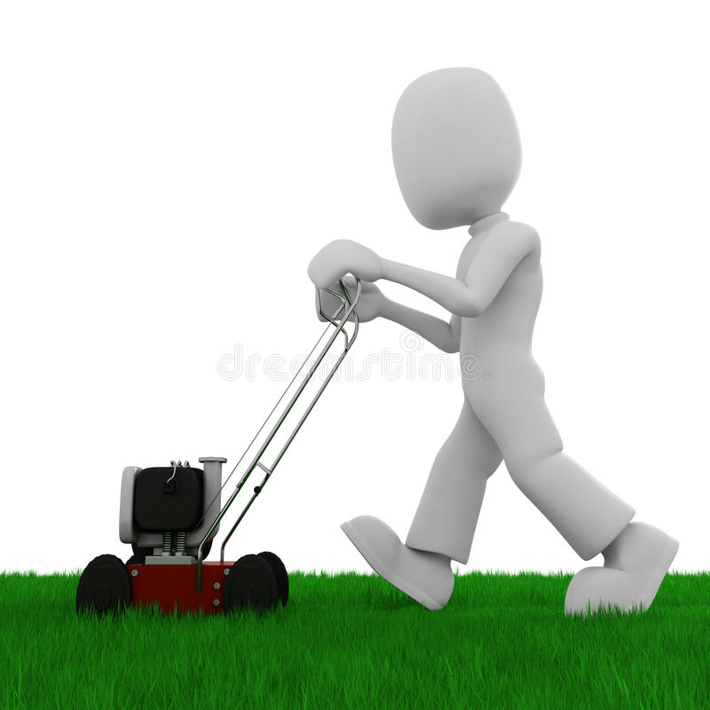 3d man cutting the grass with a lawn mowe stock illustration