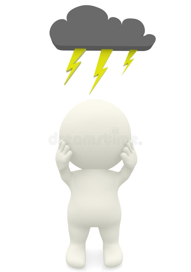 3D man with dark cloud on top