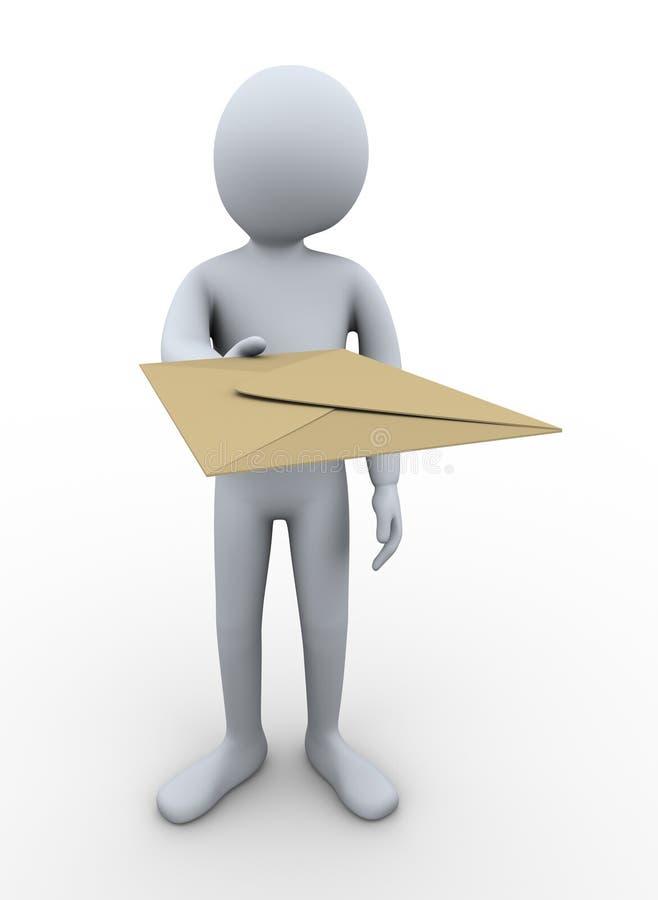 Download 3d man delivering mail stock illustration. Illustration of message - 27468831