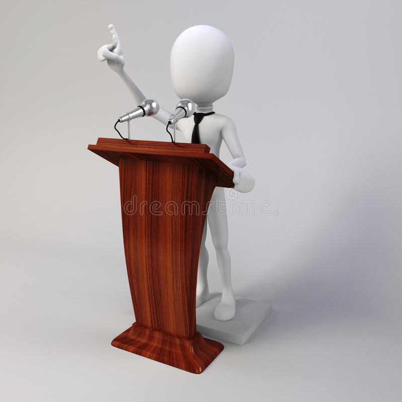 3d man delivering a speech vector illustration