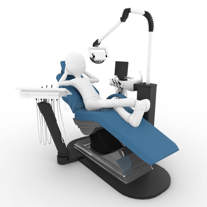 Download 3d man with dentist chair stock illustration. Image of health - 16793252