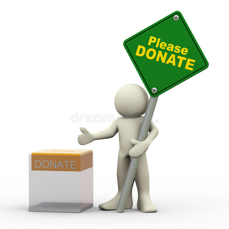 Download 3d Man And Donation Box Royalty Free Stock Photo - Image: 28733085