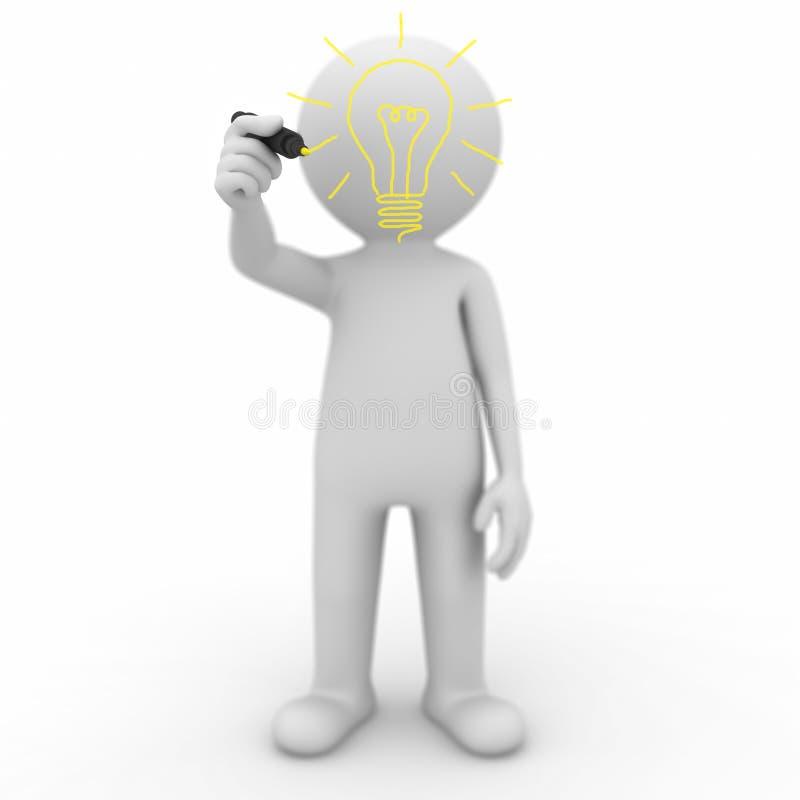 Download 3d Man Drawing Idea Lightbulb Stock Illustration - Image: 24249221