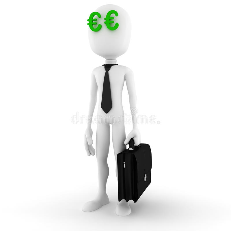 3d man dreaming at successful business. And money royalty free illustration
