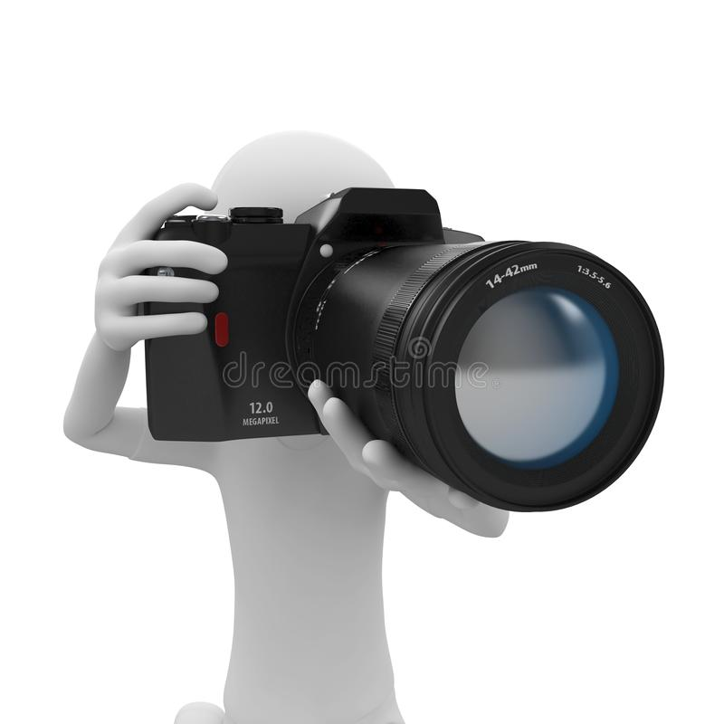 Download 3d man with DSLR camera stock illustration. Image of concept - 16295626