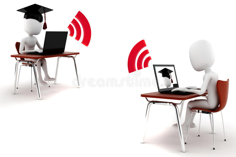 Download 3d Man E-learning Isolated, On White Background Stock Illustration - Image: 19571147