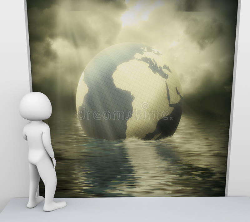 3d man and environmental pollution stock illustration