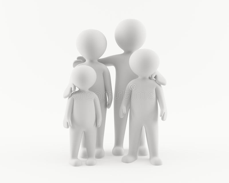 3D man with family stock illustration