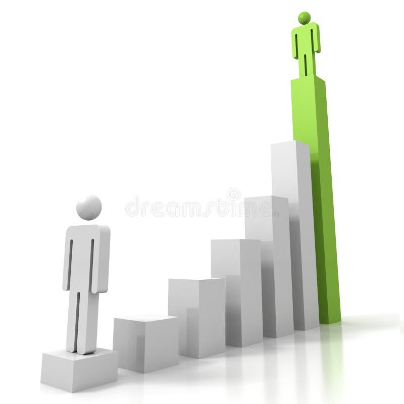 3d man figures on success carreer bar chart stock illustration