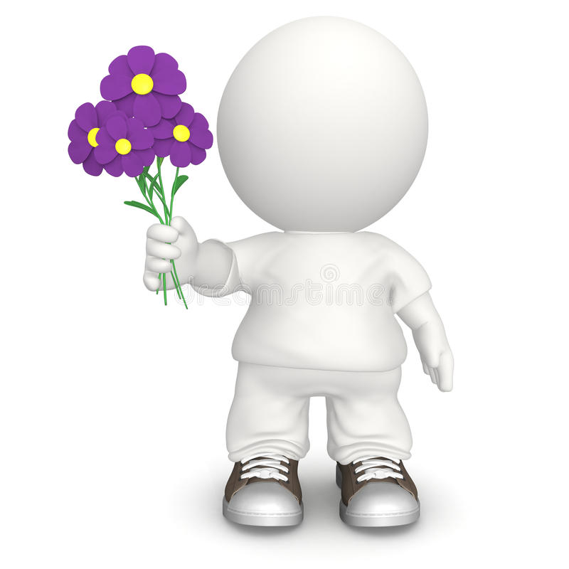 Download 3D man with flowers stock illustration. Illustration of daisies - 16706313