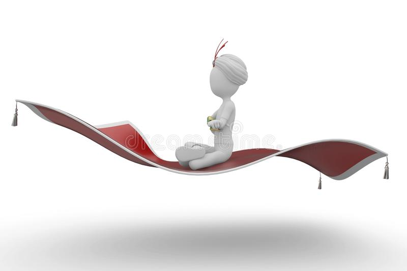 3d Man With Flying Carpet Stock Photography