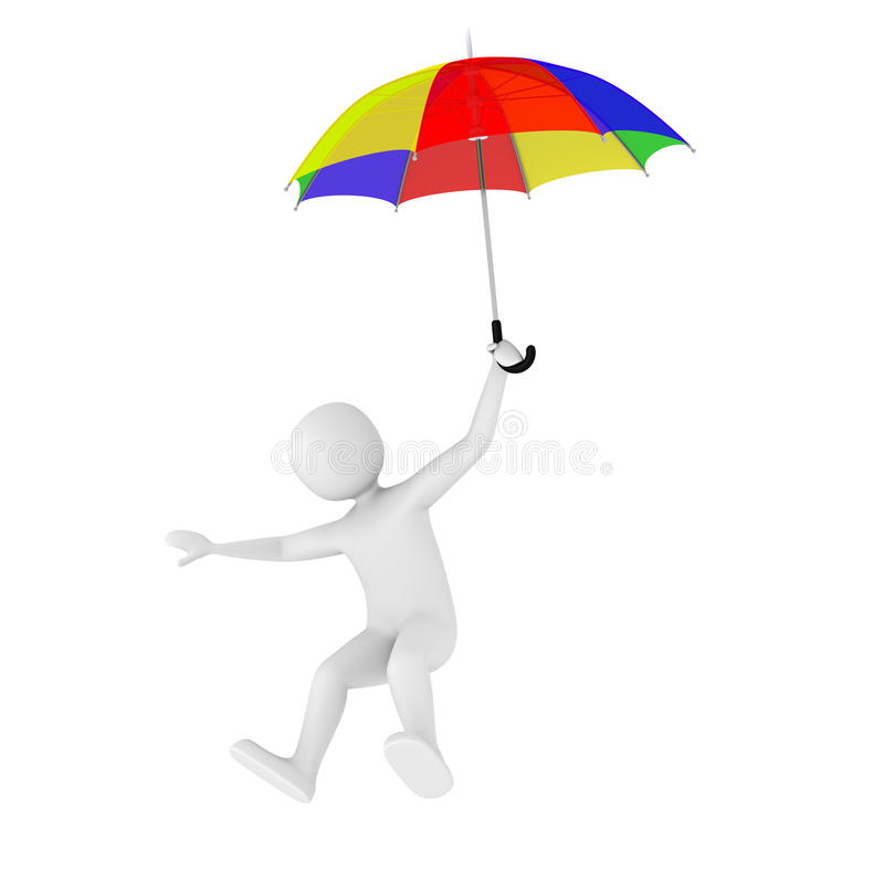 3d Man Flying With Umbrella Royalty Free Stock Image