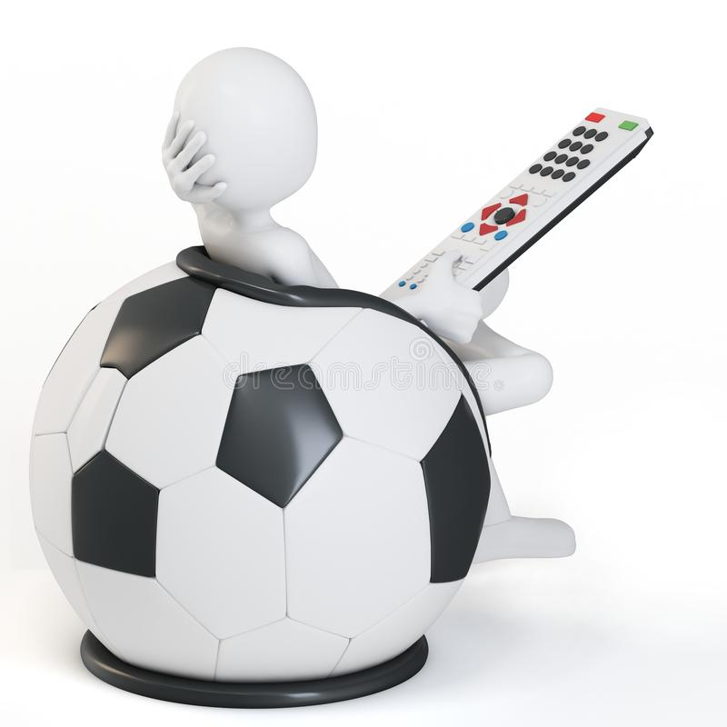 Download 3d Man Football Chair With Remote Stock Illustration - Image: 23637493