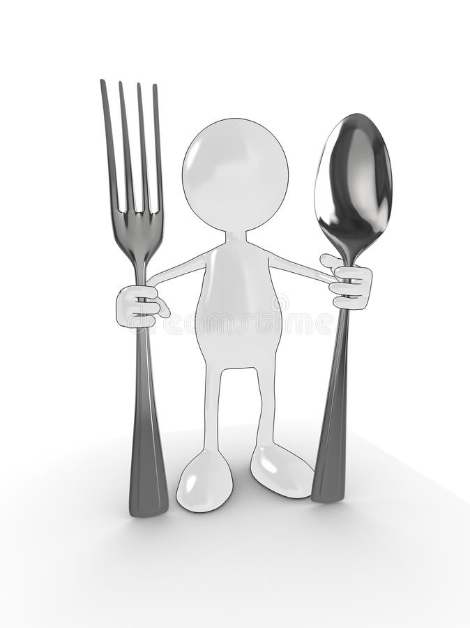 Download 3d man with fork and spoon stock illustration. Illustration of cooking - 9793352