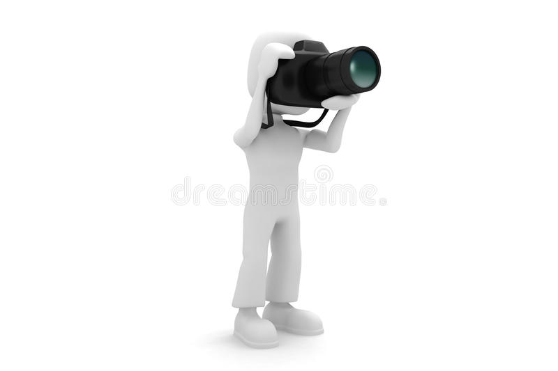 Download 3d man with a foto camera stock illustration. Illustration of people - 12335992