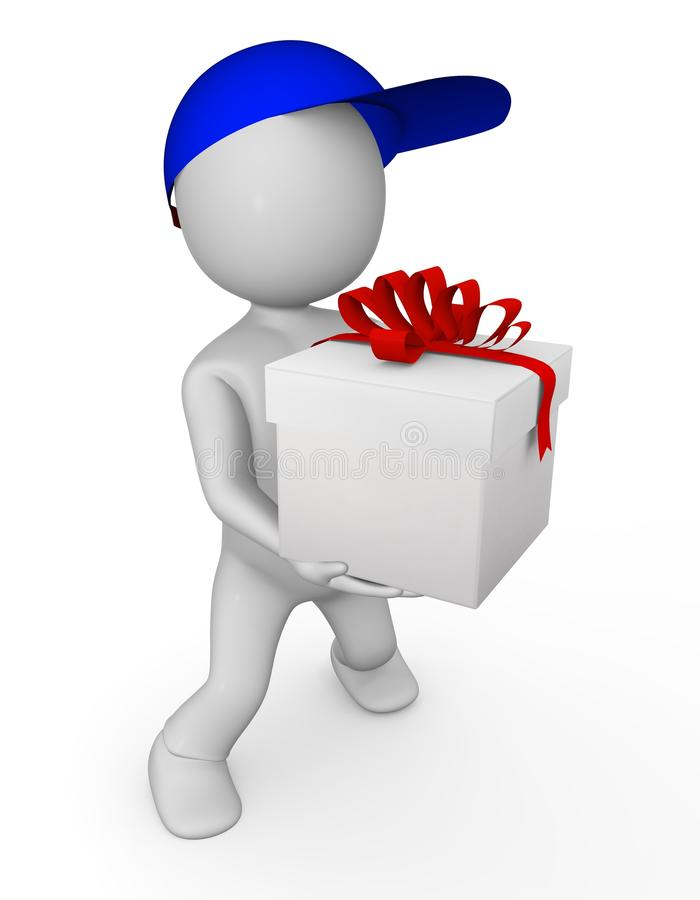 3d man with gift stock images