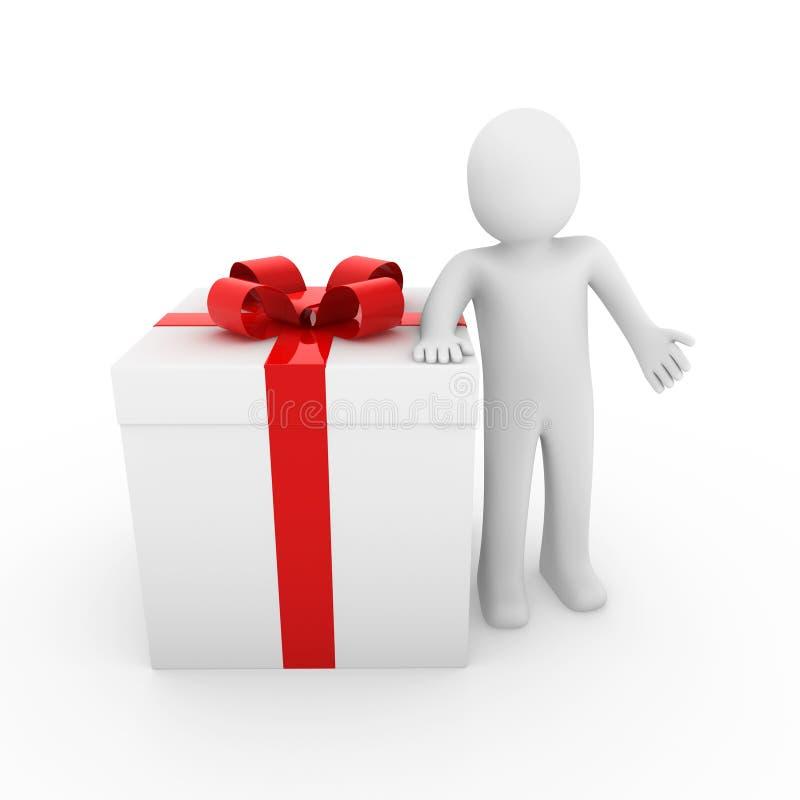 3d man gift box red big stock illustration