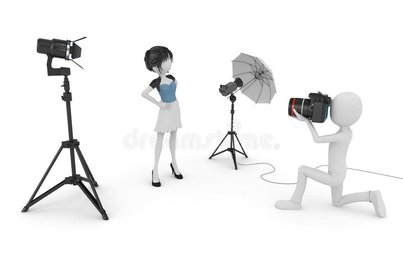 3d man and girl studio photo session. Isolated on white royalty free illustration
