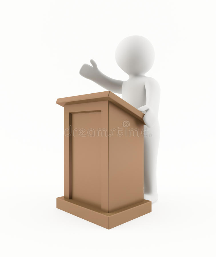 3D man giving a speech stock illustration