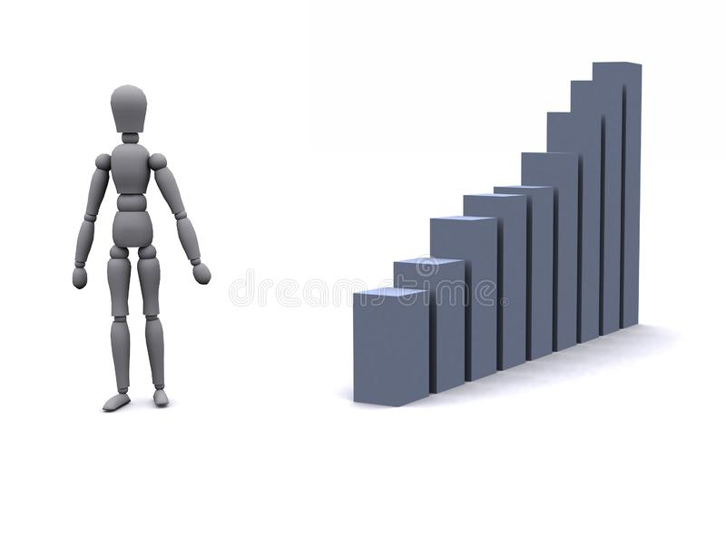 3d man and graph royalty free stock images