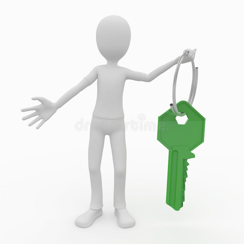 3d man with green key vector illustration