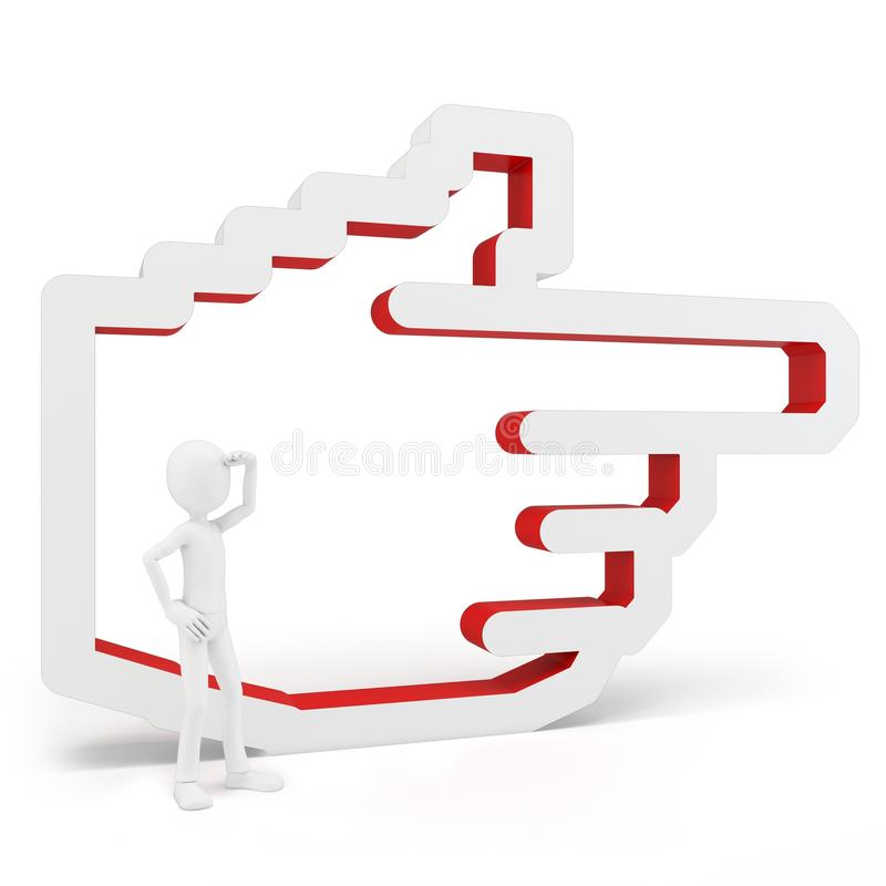 3d man with hand icon stock illustration
