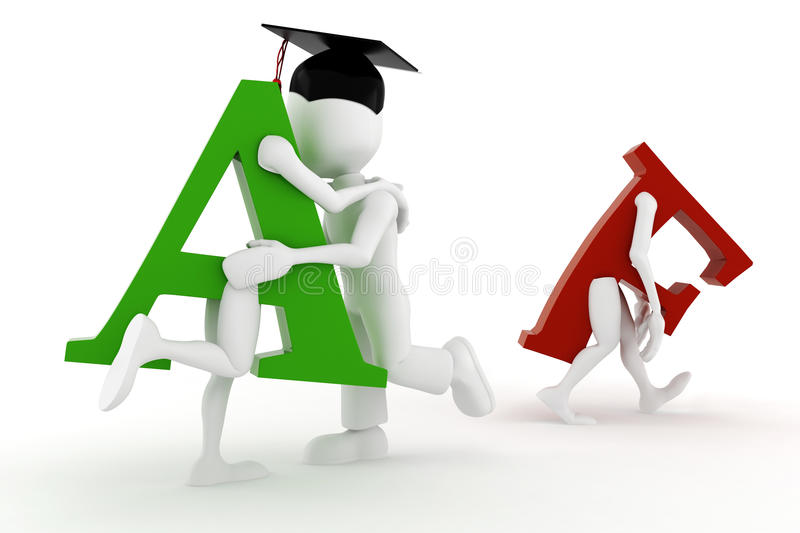 3d man happy student A grade. On white royalty free illustration